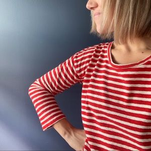 XS Madewell red white strip knit top